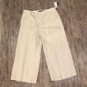 NWT Ralph Lauren Winter Cream Linen Dress Pants